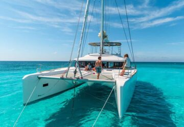 catamaran, kitecruise, schiff, türkises wasser, karibik
