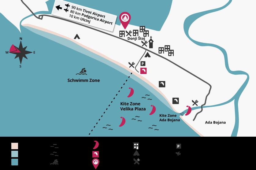 Kitespot, Karte, Spotguide, Montenegro, kitesurfen